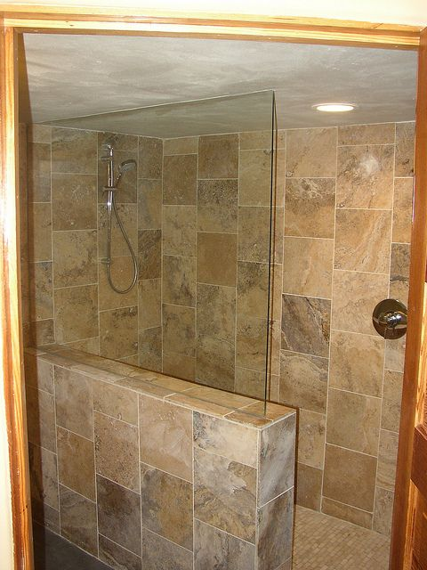 travertine tile shower | Basement remodel with travertine tile walk-in shower. | Flickr - Photo ...