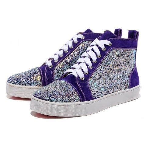 Christian Louboutin Louis Flat Strass Mens Sneakers Purple