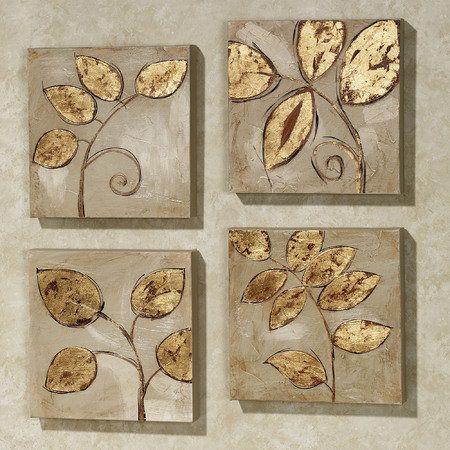 Golden Leaves Canvas Set Gold Set of Four