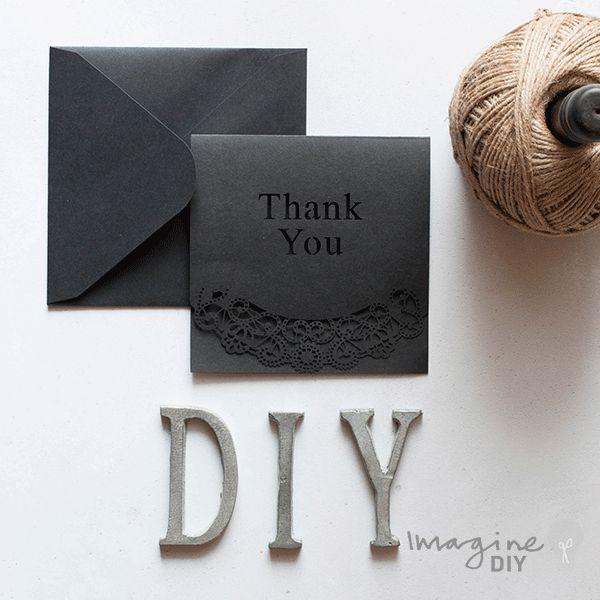 Blank laser cut thank you card. DIY wedding stationery supplies. Black laser cut thank you card.