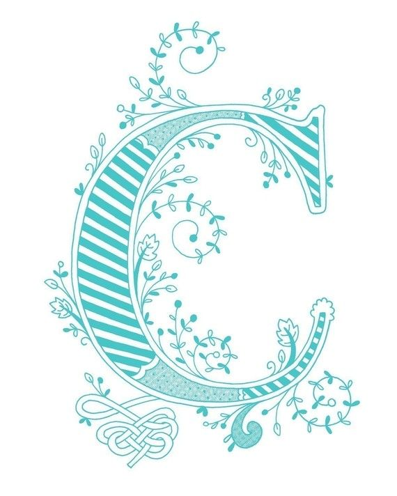 Hand drawn monogrammed print, 8x10, the Letter C, in the color green