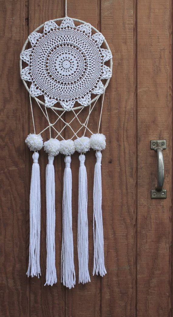 10 white & neutral tone, crocheted, lace dreamcatcher made with unbleached, hand-knotted cotton, salvaged materials and decorated with pom poms &