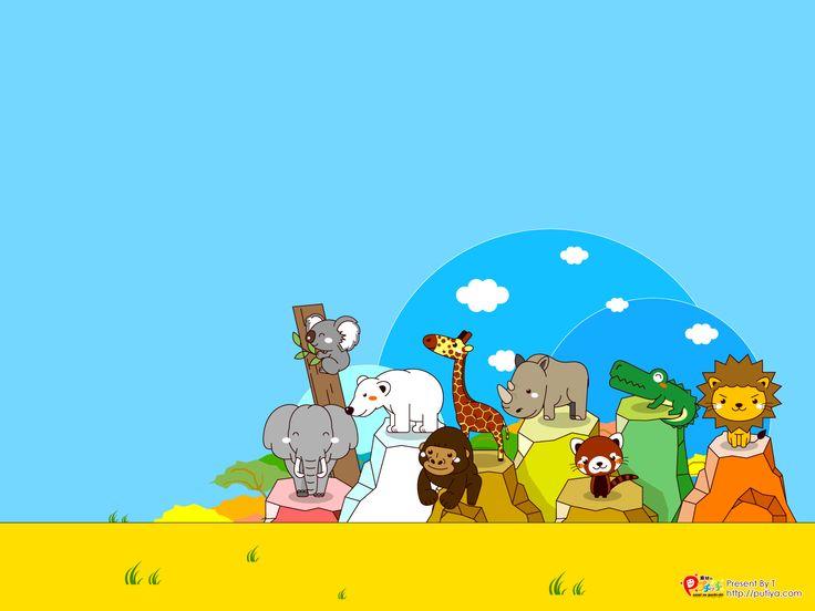 1600×1200|デスクトップ壁紙(動物園の動物イラスト、背景が水色)|かわいいフリー素材、無料イラスト|素材のプチッチ
