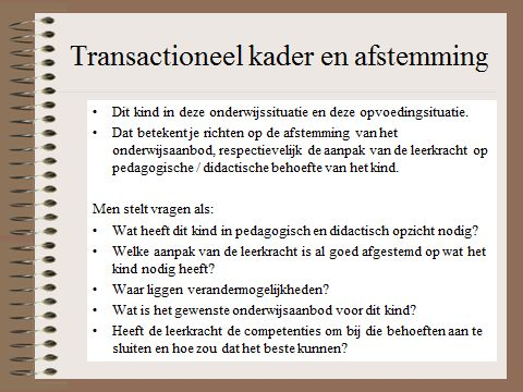 HGW: transactioneel kader en afstemming