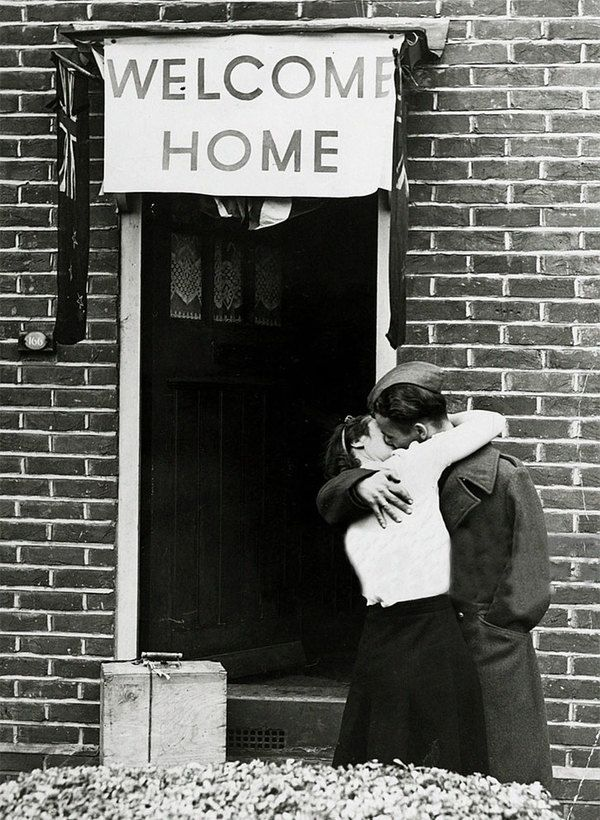 Couples Kissing Goodbye and Welcome Home Before and After WWII