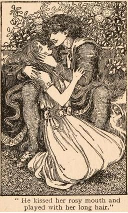 "Fairy tales of Hans Andersen (1908)illustrated by Helen Stratton  ""He kissed her rosy mouth and played with her long hair"""