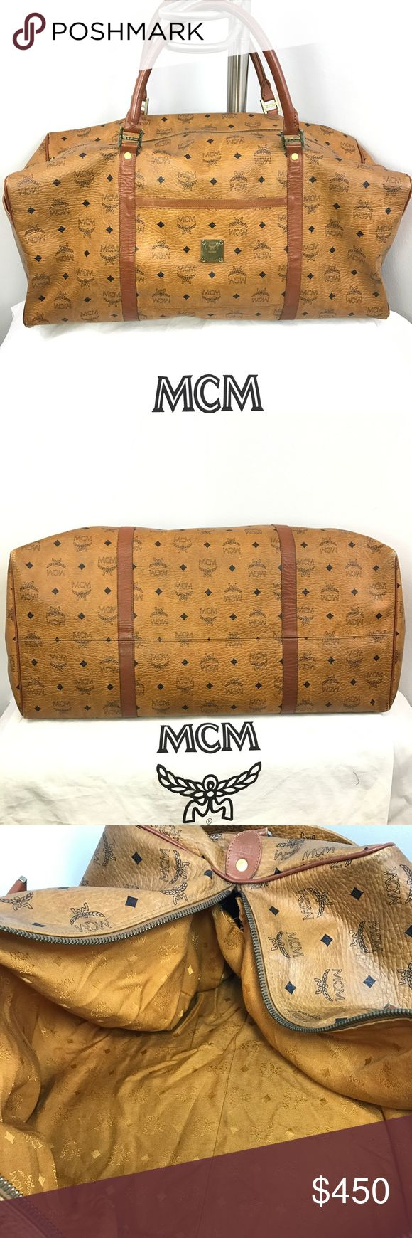 """Authentic MCM XL Traveler Weekender Duffle Luggage 100% Genuine Authentic MCM Worldwide Bag  Style: Traveler Weekender Luggage Duffle Bag Color: Cognac (Brown) Size: Extra Large XL 12"""" x 22"""" x 10"""" Gender: Unisex Men's Women's Condition: C (leather aging and 1 rip in interior lining) Material: Visetos Coated Canvas & Cowhide Leather PVC    Like Us On Facebook! @ModaByBoutique Moda Boutique SF MCM Bags Luggage & Travel Bags"""