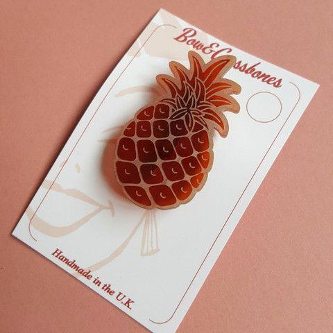 Pineapple faux tortoiseshell brooch, , Brooches, Bow & Crossbones, Bow & Crossbones   - 1
