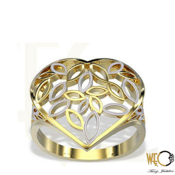 Złoty ażurowy pierścionek./ Golden openwork ring.