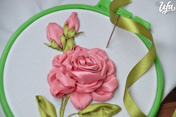 вышивка лентами розы мастер класс - Google Search