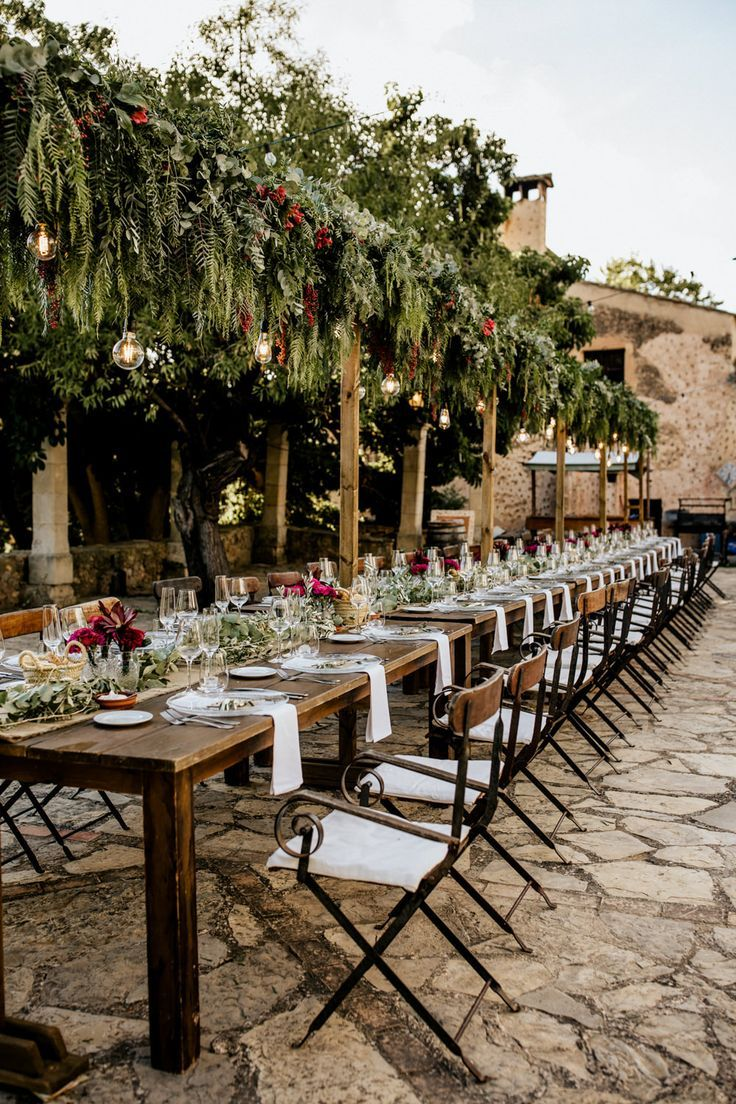 Tablescape   Flower Installation   Bohemian Luxe Wedding In Mallorca At Finca Son Bosch With Bride In Made With Love Bridal Gown & Images By Chris & Ruth Photography
