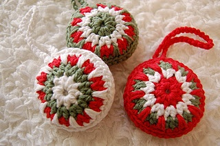 Crocheted ornaments using a free pattern from Attic24