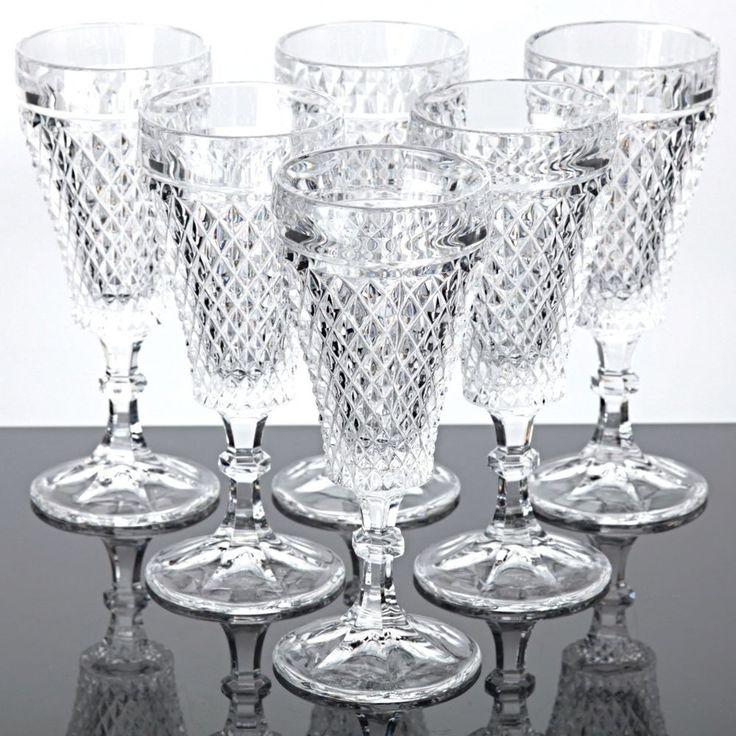 6 Sektgläser Bleikristall alte Gläser Waffel Raute Vintage 15 cm
