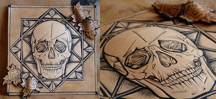 Tattooed & tooled leather art Angular skull with 4 roses  www.puncturedartefact.com