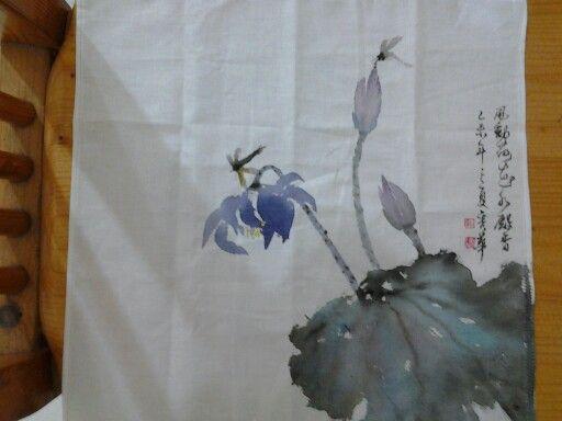 手帕(水墨花)