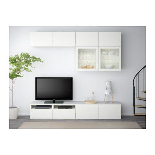BESTÅ Tv-förvaring kombination/glasdörrar - Lappviken/Sindvik vit klarglas, lådskena, tryck-och-öppna - IKEA