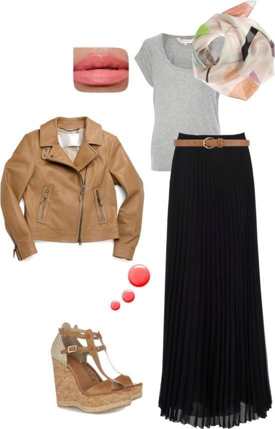 Brown leather jacket, white shirt, black maxi skirt, light scarf with accessories coloured to match, brown shoes.