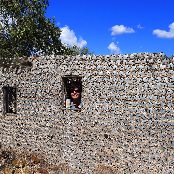House made from tin cans near the first opal mine found at Lightning Ridge- wall