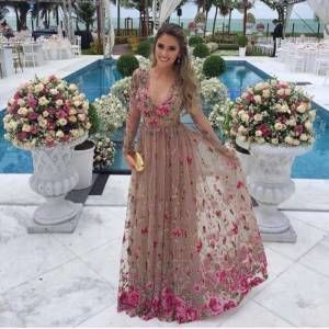 3bb7f298f0146 Gül Desenli Şifon Abiye Elbise GittiGidiyor'da 329052196 | Kıyafet ...
