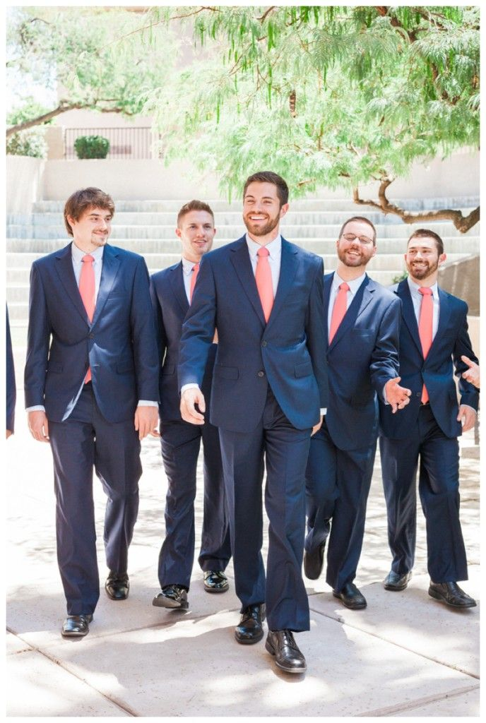 Navy and Coral Groomsmen | True Love Came Down | Weddings Inspired by Faith | Arizona Wedding by April Maura Photography