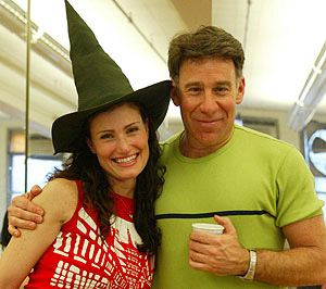 Idina Menzel with Stephen Schwartz in rehearsal.