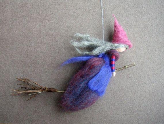 Nadel Filz wolle Hexe lila und Rosa Fee Puppe Soft von Holichsmir