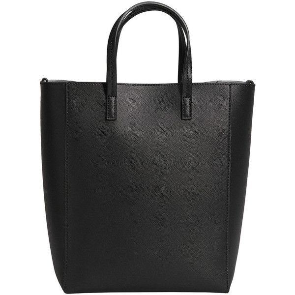 Saffiano-Effect Shopper Bag (€15) ❤ liked on Polyvore featuring bags, handbags, tote bags, metallic tote bag, imitation handbags, shopper purse, shopping bag and shopper handbag
