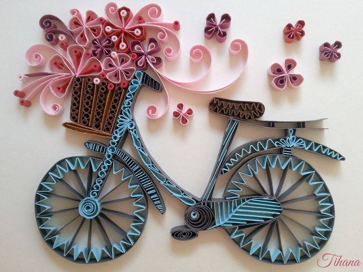 quilled bicycle, flowers, quilling by Tihana Poljak