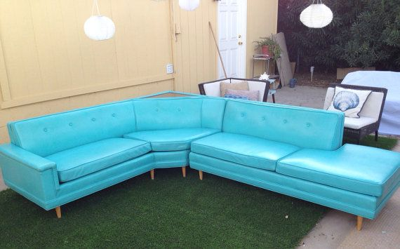 Vintage 1950s Incredible Turquoise Button Tufted Vinyl