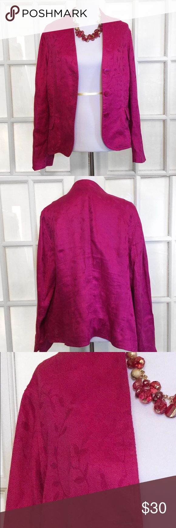 Jones New York Fuchsia Blazer This is a smart and stylish Blazer, perfect for work or social events! Features a lovely vine and leaf design 🍂 Dry Clean Jones New York Jackets & Coats Blazers