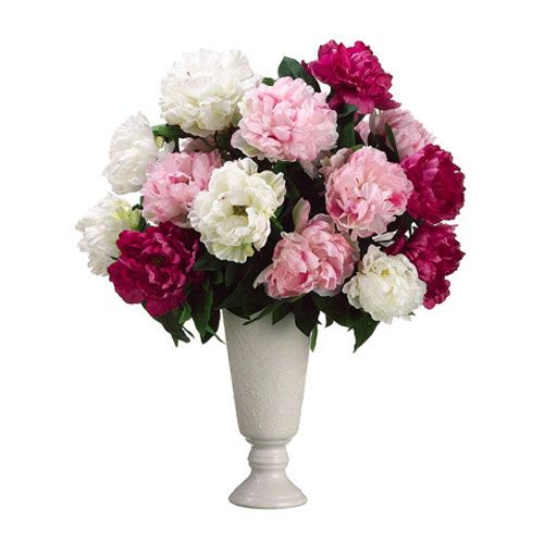 white peony silk flower arrangement - Common Flowers In Arrangements