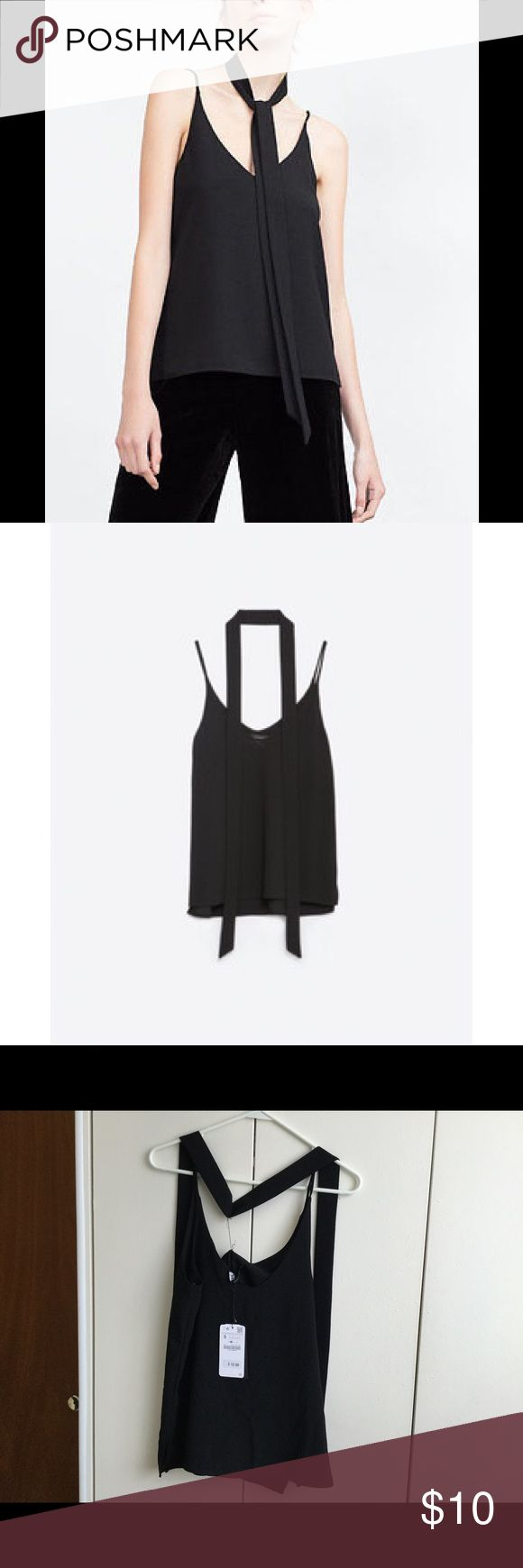Zara Stappy Top with Neck Tie Zara Strappy Top with Neck Tie in Black size small. NWT. Runs a little big, could definitely fit a medium. Zara Tops Camisoles