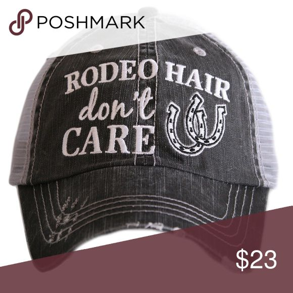 Rodeo Hair Don't Care Baseball/Trucker Hat Rodeo Hair Don't Care Baseball/Trucker Hat ~ trucker caps are embroidered and have curved bill distressed cap gives it a worn look adjustable tab with mesh back 80% cotton and 20% polyester one size fits most Accessories Hats