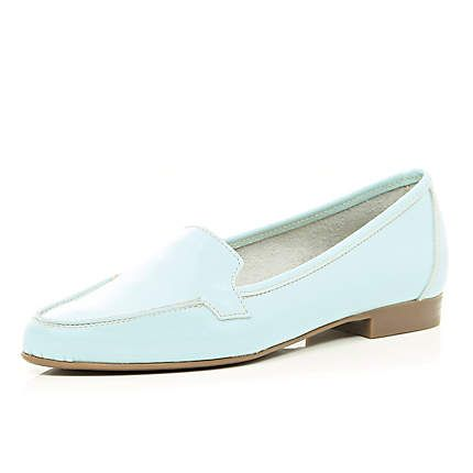 Light blue patent leather loafers €55.00