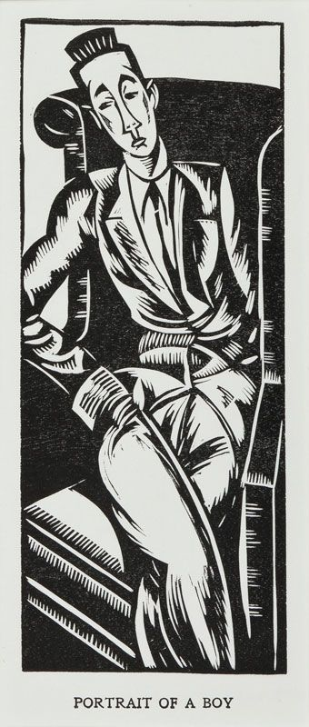 'Portrait of a Boy': the dancer Rupert Doone (1903-1966), 1920 by Edward WADSWORTH  (1889-1949) - Woodcut.