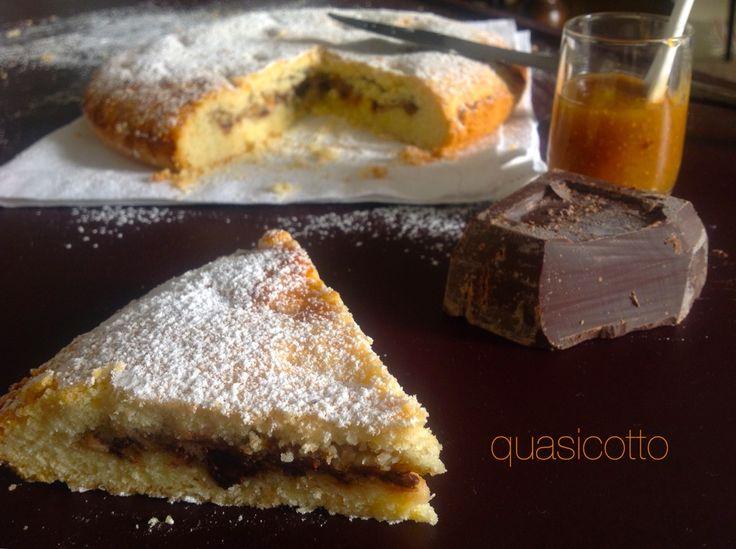Crostata morbida ricotta, cioccolato  e confettura di fichi