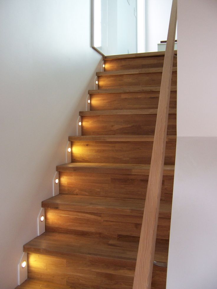Stair Treads Made From Ikea Countertop Material (beech) With LED Tread  Lights.