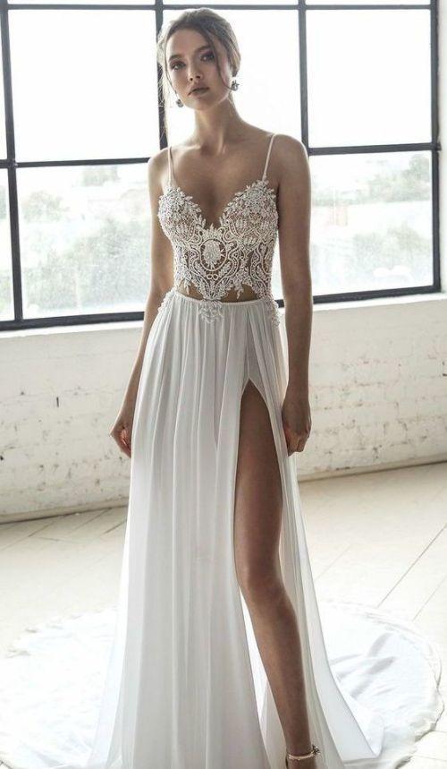 Strap V-Neck Prom Dress, Evening Dress With Split,Weeding Dress by Hiprom, $167….