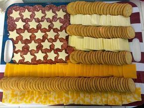 I found this American flag meat and cheese tray on Pinterest (with no source) and just had to share! How clever to line up slices of cheese and ritz crackers in rows. Put sliced meat in the left hand corner and use a star cookie cutter to cut the cheese. Adorable to bring to a …