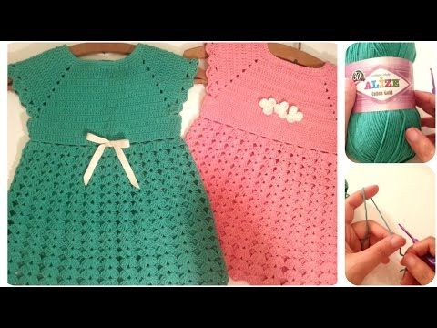 فساتين اطفال كروشيه من مقاس 2-10 سنوات بدون خياطة #1  Crochet Dresses for toddlers  - YouTube