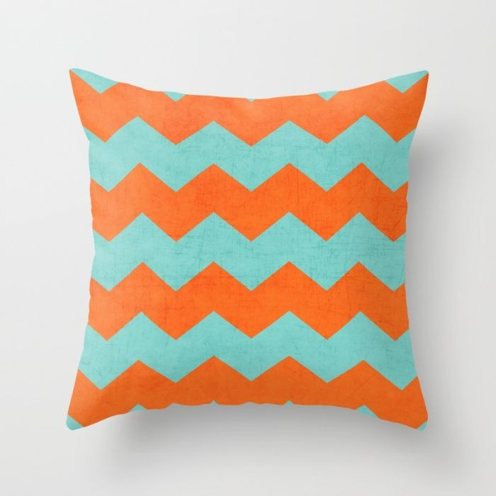 chevron - teal and orange Throw Pillow, don't love this pattern but the right shades