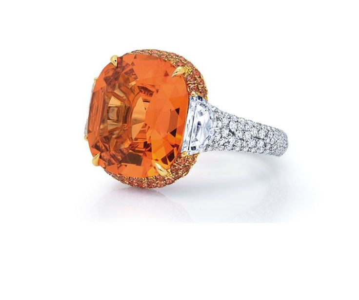 Hollywood's favourite jeweller, Martin Katz im~ Sunset-Orange ring set with 10.00ct mandarin garnet