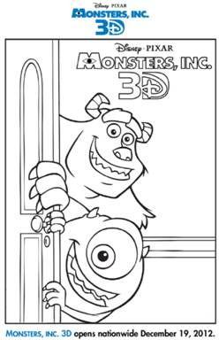 Free Monsters Inc 3D printable coloring sheet