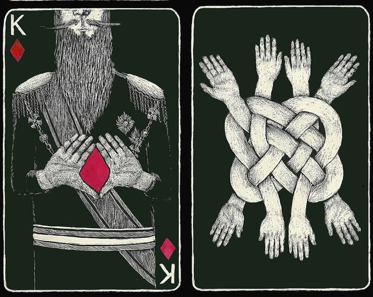 Playing cards (court cards) designed by Sara Miller. She isan illustration student at the Rhode Island School of Design, graduating in 2014.© 2012Sara Miller The Jack of Clubs + The Queen of Hea…