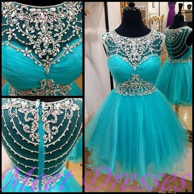 2015 Beautiful Style Blue Homecoming Dresses With Silver Beading Parties Gown Short Prom Dress Sweet 16 Gowns
