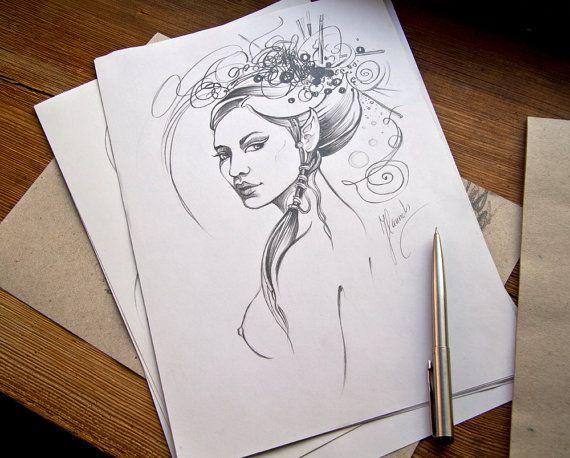 """Elf Pirincess"" - pencil drawing by Anna Miarczynska"