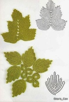 #Crochet_Stitches -- Beautiful Irish Crochet Leaves with Charts via #KnittingGuru ** http://www.KnittingGuruDesigns.blogspot.com