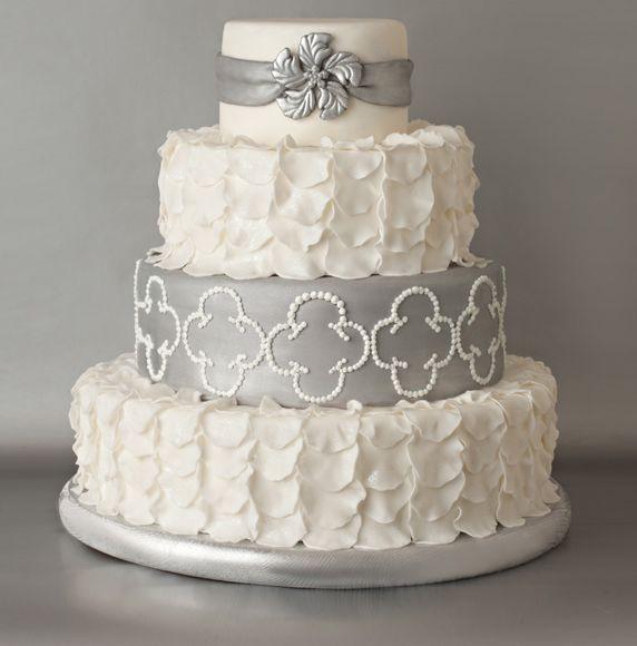 Silver Grey Amp White Petals Wedding Cake