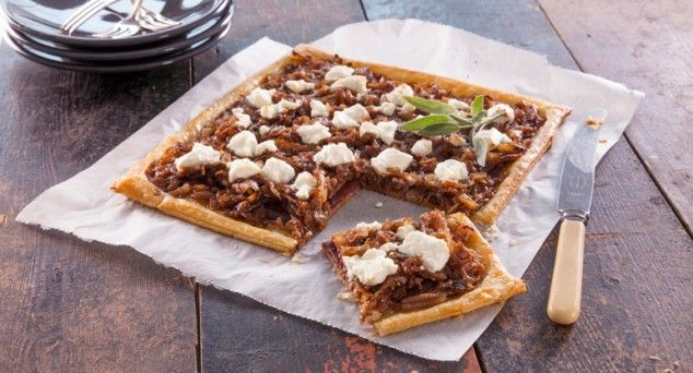 Get your hands on a slice of this sensational Feta & Sweet Onion Tart! Thanks for the recipe Sprinkles & Sprouts. #vegetarian #entertaining #entree