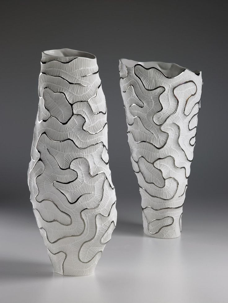 Fossilia Collection - porcelain vases inspired by madrepore, decorated with platinum